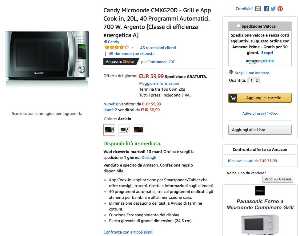 Esempio scheda prodotto Amazon